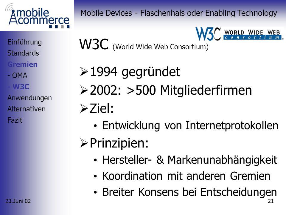 23.Juni 02 Mobile Devices - Flaschenhals oder Enabling Technology 20 OMA (Open Mobile Alliance) 1997 von Nokia, Ericsson, Motorola und Unwired Planet