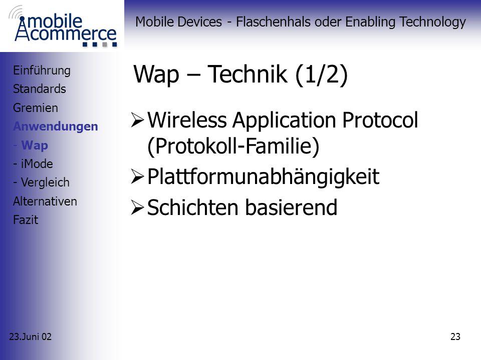 23.Juni 02 Mobile Devices - Flaschenhals oder Enabling Technology 22 Anwendungen WAP iMode Vergleich Einführung Standards Gremien Anwendungen Alternat