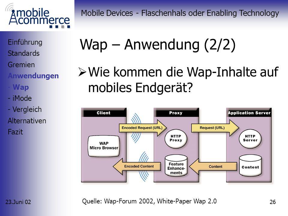 23.Juni 02 Mobile Devices - Flaschenhals oder Enabling Technology 25 Wap – Anwendung (1/2) Seit 1998 im Einsatz implementiert von vielen Providern wel
