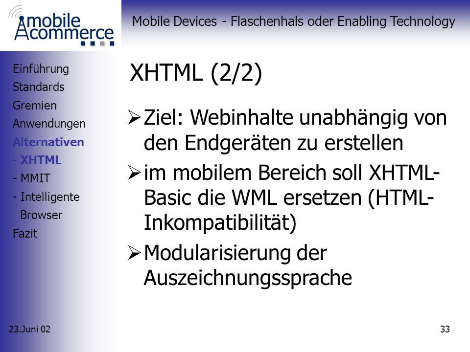 23.Juni 02 Mobile Devices - Flaschenhals oder Enabling Technology 32 HTMLc-HTML XML XHTML WML WAP 2.0 XHTML (1/2) Einführung Standards Gremien Anwendu