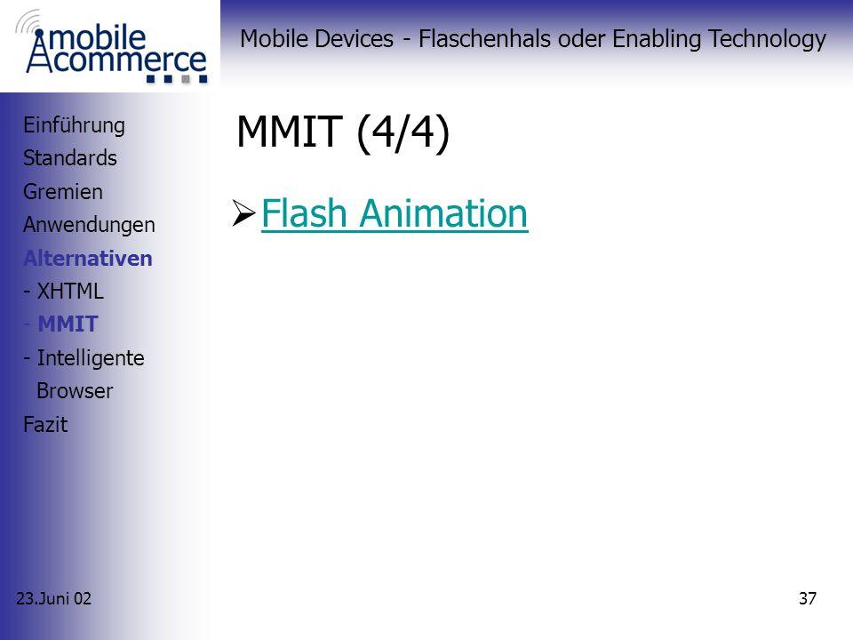 23.Juni 02 Mobile Devices - Flaschenhals oder Enabling Technology 36 MMIT (3/4) Verwandtschaft mit Visual Basic Einsetzbar bei: Web-Seiten und Applika