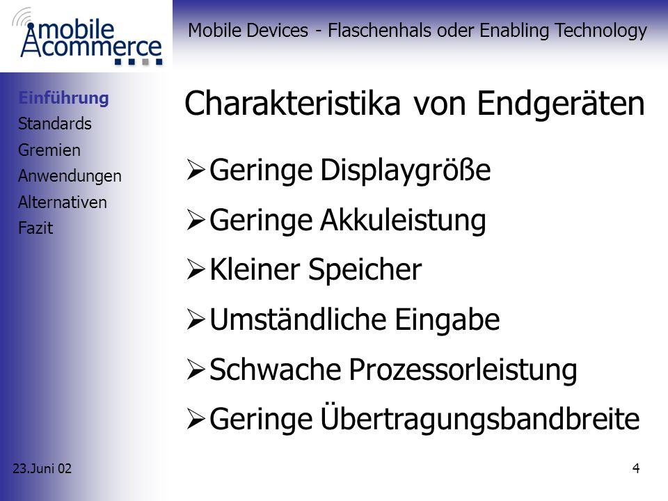 23.Juni 02 Mobile Devices - Flaschenhals oder Enabling Technology 4 Charakteristika von Endgeräten Einführung Standards Gremien Anwendungen Alternativen Fazit Geringe Displaygröße Geringe Akkuleistung Kleiner Speicher Umständliche Eingabe Schwache Prozessorleistung Geringe Übertragungsbandbreite