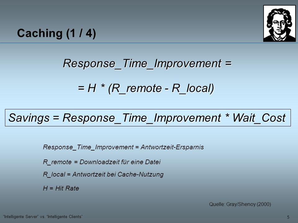 5 Intelligente Server vs. Intelligente Clients Caching (1 / 4) Response_Time_Improvement = Response_Time_Improvement = Antwortzeit-Ersparnis = H H = H
