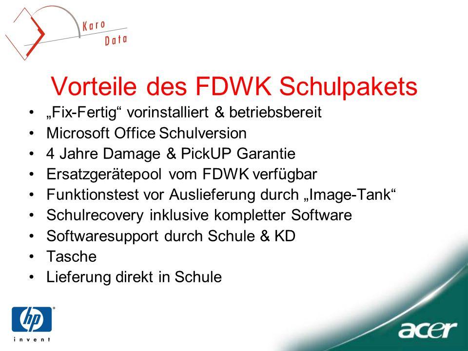 Vorteile des FDWK Schulpakets Fix-Fertig vorinstalliert & betriebsbereit Microsoft Office Schulversion 4 Jahre Damage & PickUP Garantie Ersatzgerätepo