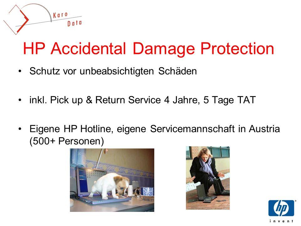 HP Accidental Damage Protection Schutz vor unbeabsichtigten Schäden inkl. Pick up & Return Service 4 Jahre, 5 Tage TAT Eigene HP Hotline, eigene Servi