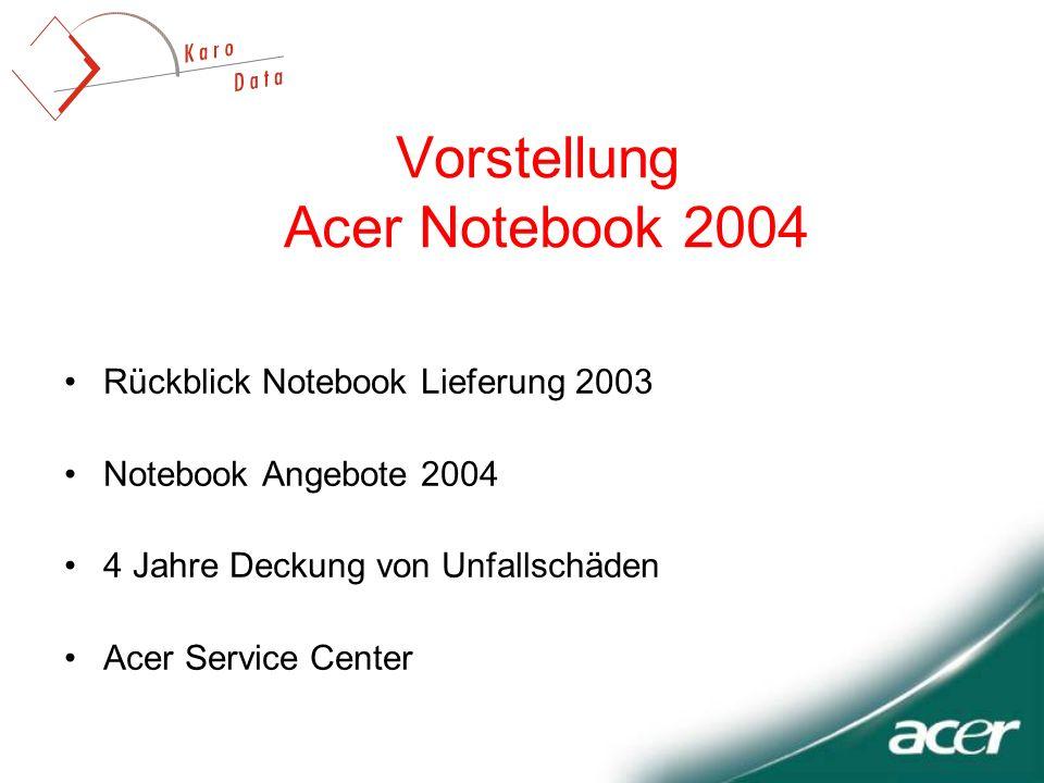 Vorstellung Acer Notebook 2004 Rückblick Notebook Lieferung 2003 Notebook Angebote 2004 4 Jahre Deckung von Unfallschäden Acer Service Center