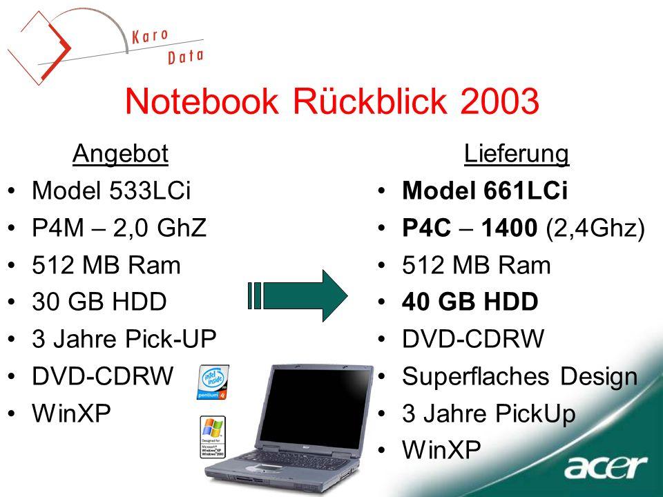 Notebook Rückblick 2003 Lieferung Model 661LCi P4C – 1400 (2,4Ghz) 512 MB Ram 40 GB HDD DVD-CDRW Superflaches Design 3 Jahre PickUp WinXP Angebot Model 533LCi P4M – 2,0 GhZ 512 MB Ram 30 GB HDD 3 Jahre Pick-UP DVD-CDRW WinXP