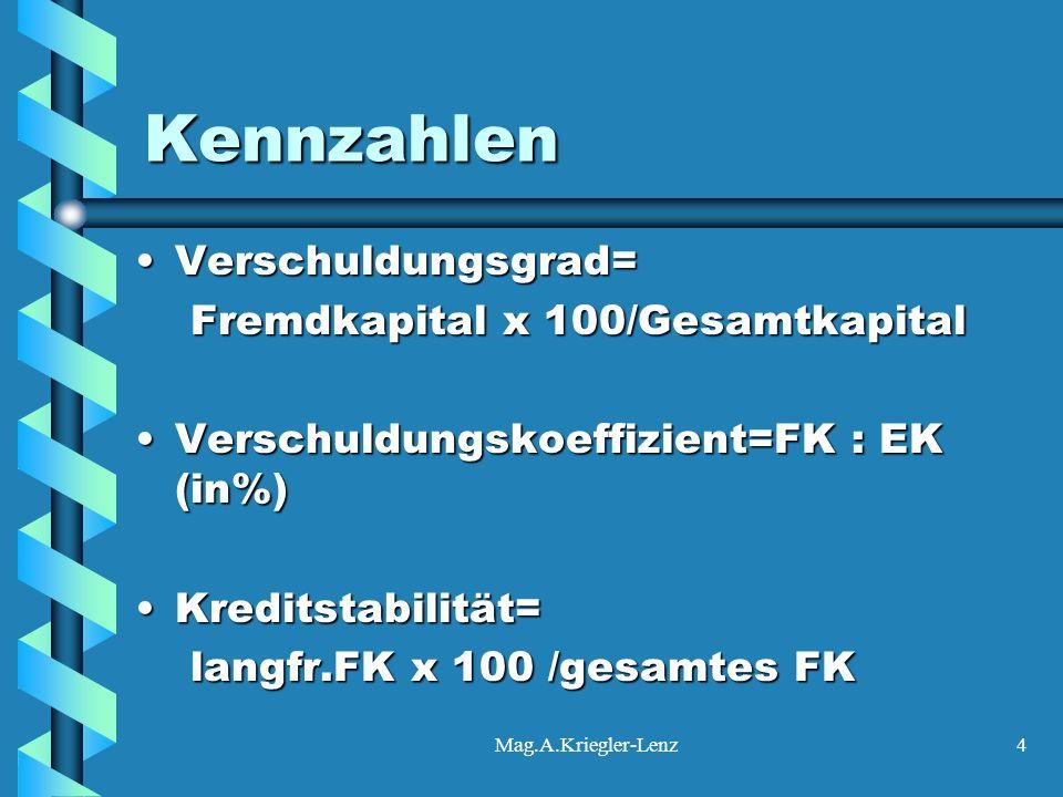 Mag.A.Kriegler-Lenz4 Kennzahlen Verschuldungsgrad=Verschuldungsgrad= Fremdkapital x 100/Gesamtkapital Fremdkapital x 100/Gesamtkapital Verschuldungsko