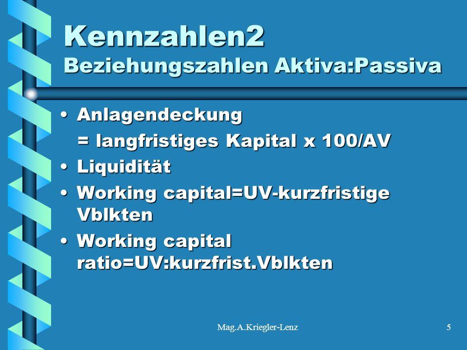 Mag.A.Kriegler-Lenz5 Kennzahlen2 Beziehungszahlen Aktiva:Passiva AnlagendeckungAnlagendeckung = langfristiges Kapital x 100/AV = langfristiges Kapital