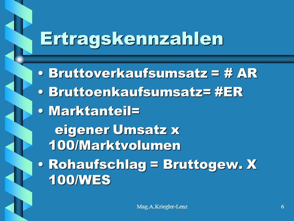 Mag.A.Kriegler-Lenz6 Ertragskennzahlen Bruttoverkaufsumsatz = # ARBruttoverkaufsumsatz = # AR Bruttoenkaufsumsatz= #ERBruttoenkaufsumsatz= #ER Marktan