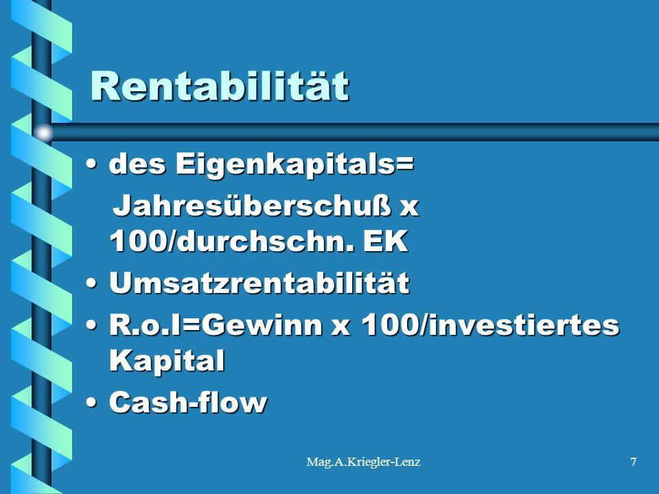 Mag.A.Kriegler-Lenz7 Rentabilität des Eigenkapitals=des Eigenkapitals= Jahresüberschuß x 100/durchschn. EK Jahresüberschuß x 100/durchschn. EK Umsatzr
