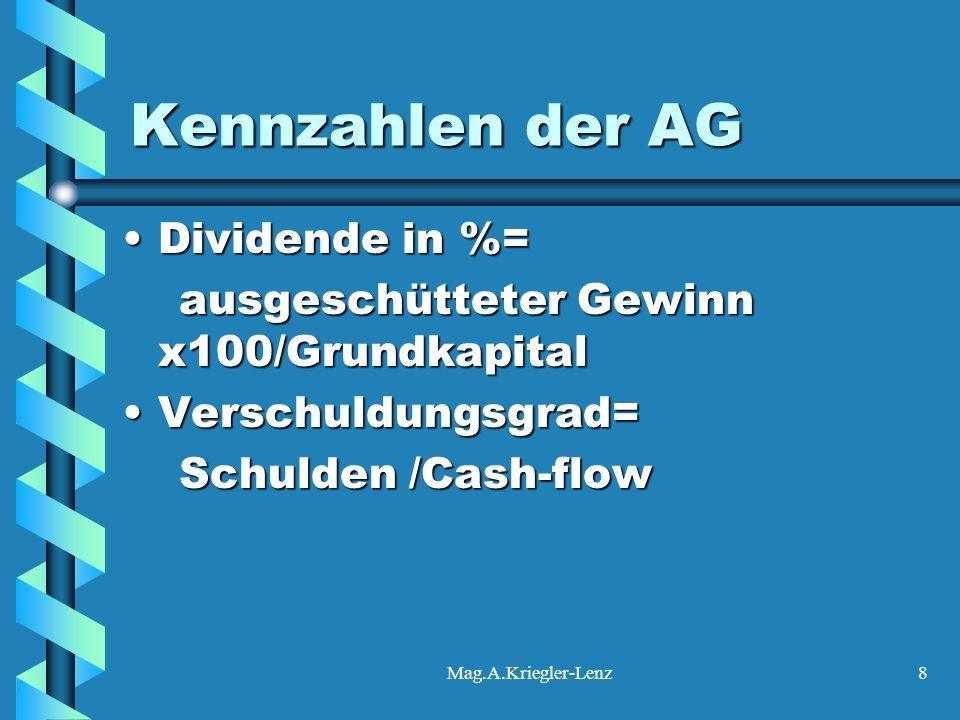 Mag.A.Kriegler-Lenz8 Kennzahlen der AG Dividende in %=Dividende in %= ausgeschütteter Gewinn x100/Grundkapital ausgeschütteter Gewinn x100/Grundkapita