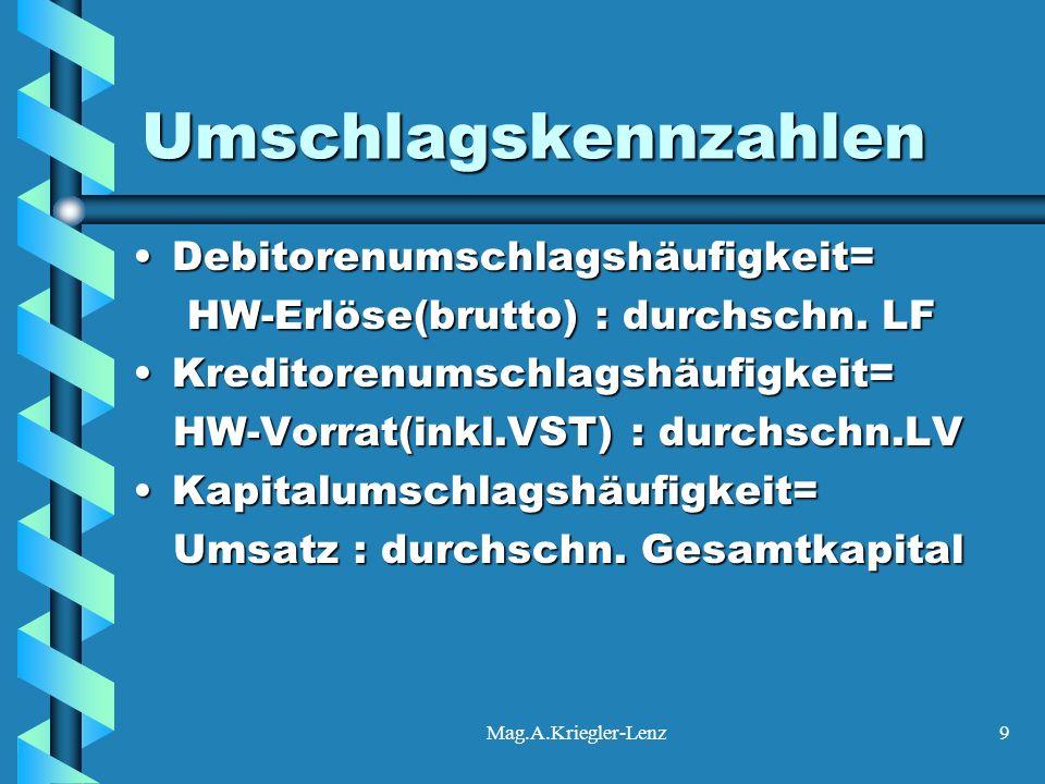 Mag.A.Kriegler-Lenz9 Umschlagskennzahlen Debitorenumschlagshäufigkeit=Debitorenumschlagshäufigkeit= HW-Erlöse(brutto) : durchschn. LF HW-Erlöse(brutto