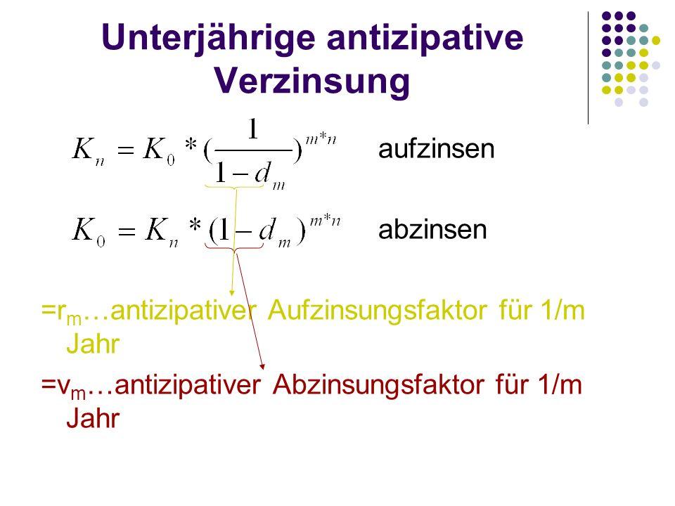 Unterjährige antizipative Verzinsung aufzinsen abzinsen =r m …antizipativer Aufzinsungsfaktor für 1/m Jahr =v m …antizipativer Abzinsungsfaktor für 1/