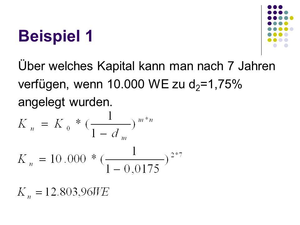 Beispiel 1 Über welches Kapital kann man nach 7 Jahren verfügen, wenn 10.000 WE zu d 2 =1,75% angelegt wurden.