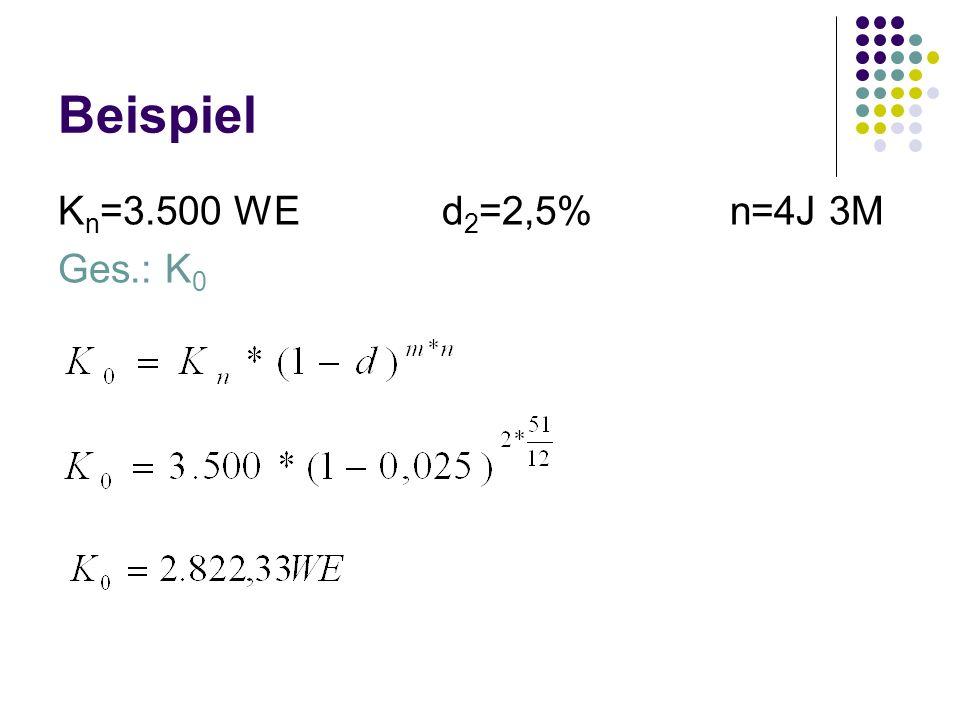 Beispiel K n =3.500 WEd 2 =2,5%n=4J 3M Ges.: K 0