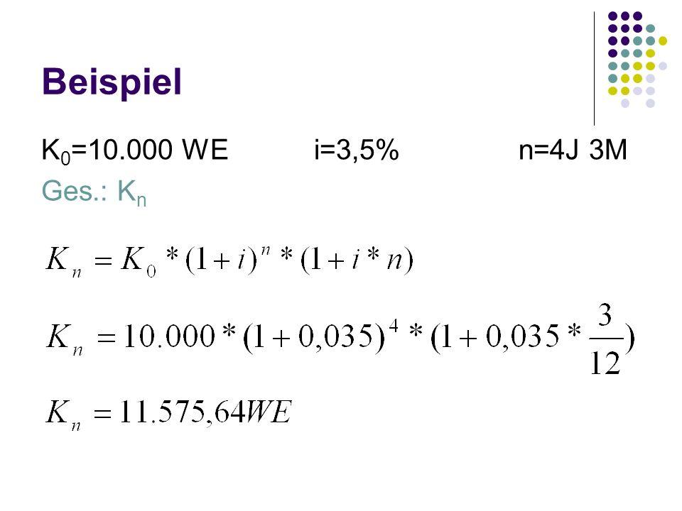 Beispiel K 0 =10.000 WEi=3,5%n=4J 3M Ges.: K n
