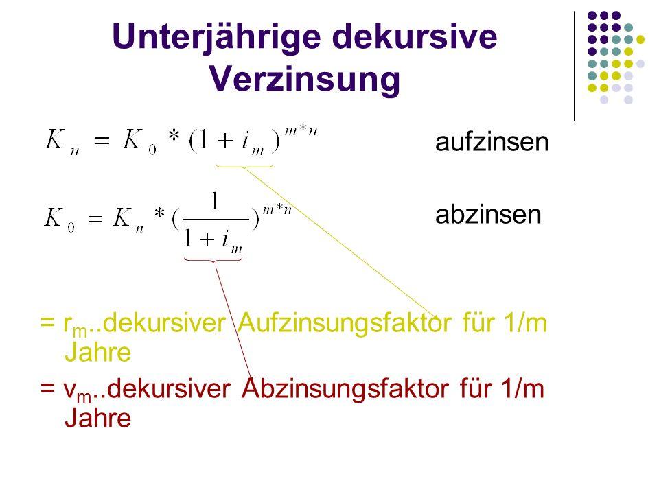 Unterjährige dekursive Verzinsung aufzinsen abzinsen = r m..dekursiver Aufzinsungsfaktor für 1/m Jahre = v m..dekursiver Abzinsungsfaktor für 1/m Jahr