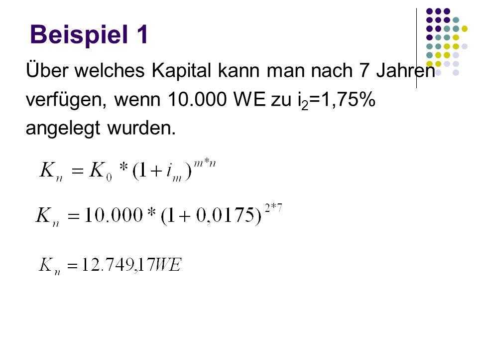 Beispiel 1 Über welches Kapital kann man nach 7 Jahren verfügen, wenn 10.000 WE zu i 2 =1,75% angelegt wurden.