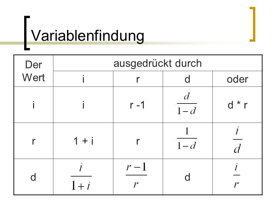 Variablenfindung Der Wert ausgedrückt durch irdoder iir -1d * r r1 + ir dd