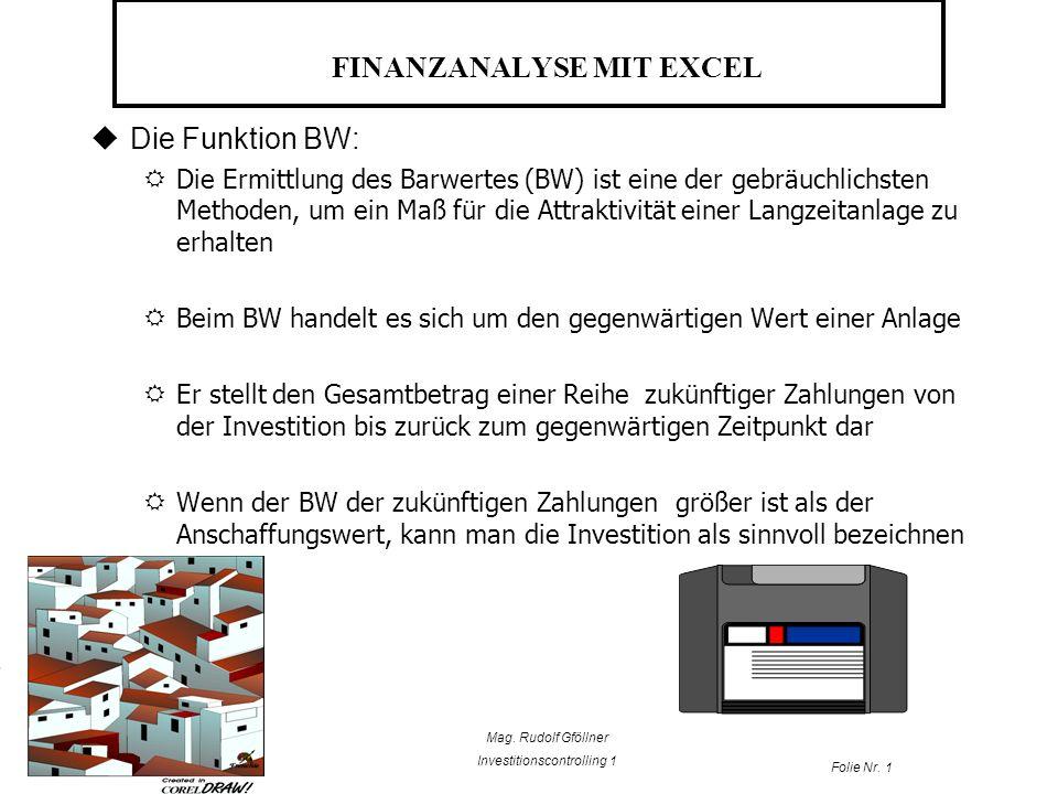 Mag. Rudolf Gföllner Investitionscontrolling 1 Folie Nr. 1 FINANZANALYSE MIT EXCEL Die Funktion BW: Die Ermittlung des Barwertes (BW) ist eine der geb