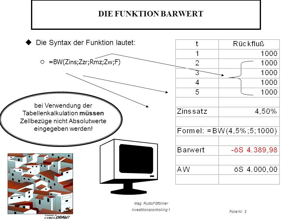 Mag. Rudolf Gföllner Investitionscontrolling 1 Folie Nr. 3 DIE FUNKTION BARWERT Die Syntax der Funktion lautet: =BW(Zins;Zzr;Rmz;Zw;F) bei Verwendung