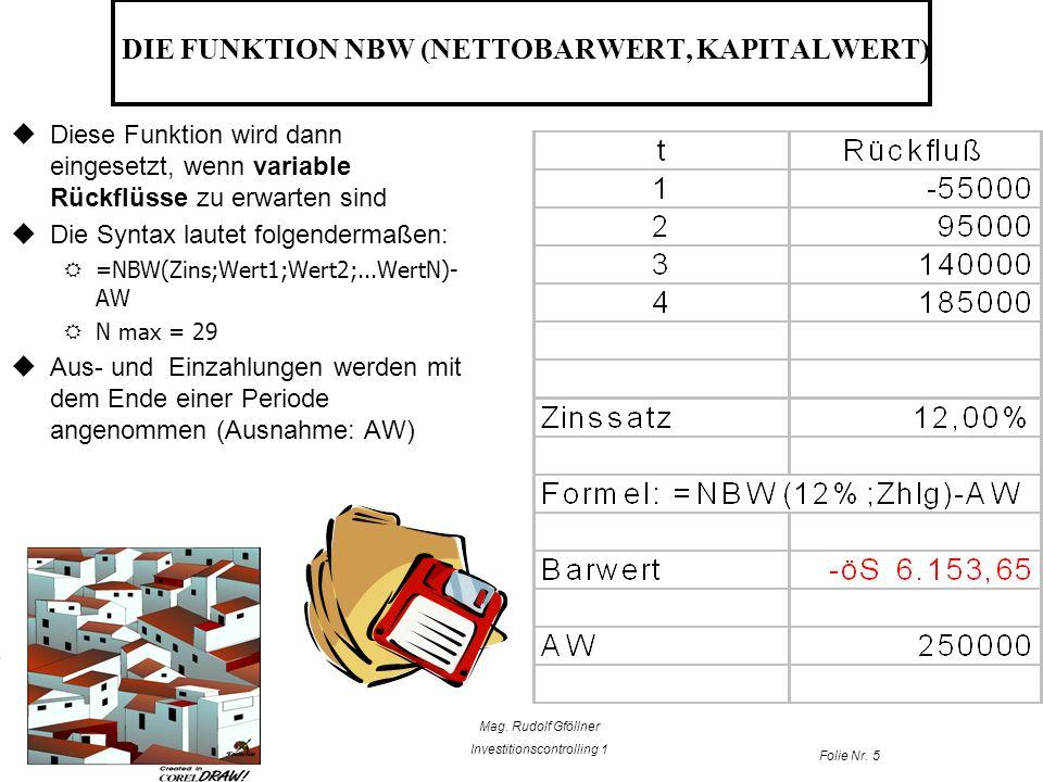 Mag. Rudolf Gföllner Investitionscontrolling 1 Folie Nr. 5 DIE FUNKTION NBW (NETTOBARWERT, KAPITALWERT) Diese Funktion wird dann eingesetzt, wenn vari