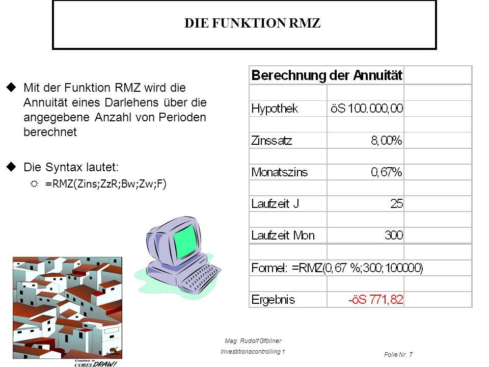 Mag. Rudolf Gföllner Investitionscontrolling 1 Folie Nr. 7 DIE FUNKTION RMZ Mit der Funktion RMZ wird die Annuität eines Darlehens über die angegebene