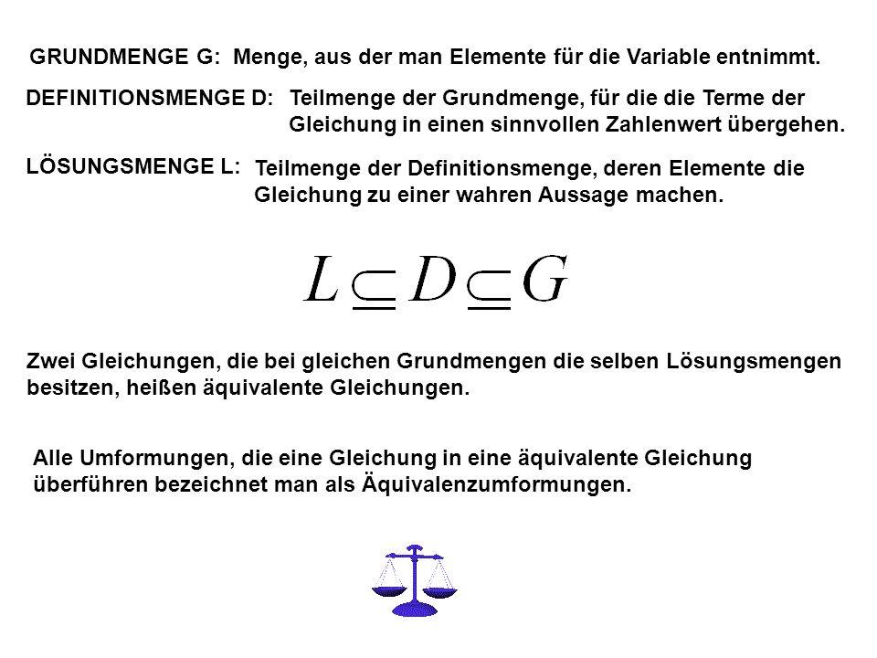 GRUNDMENGE G: Menge, aus der man Elemente für die Variable entnimmt.