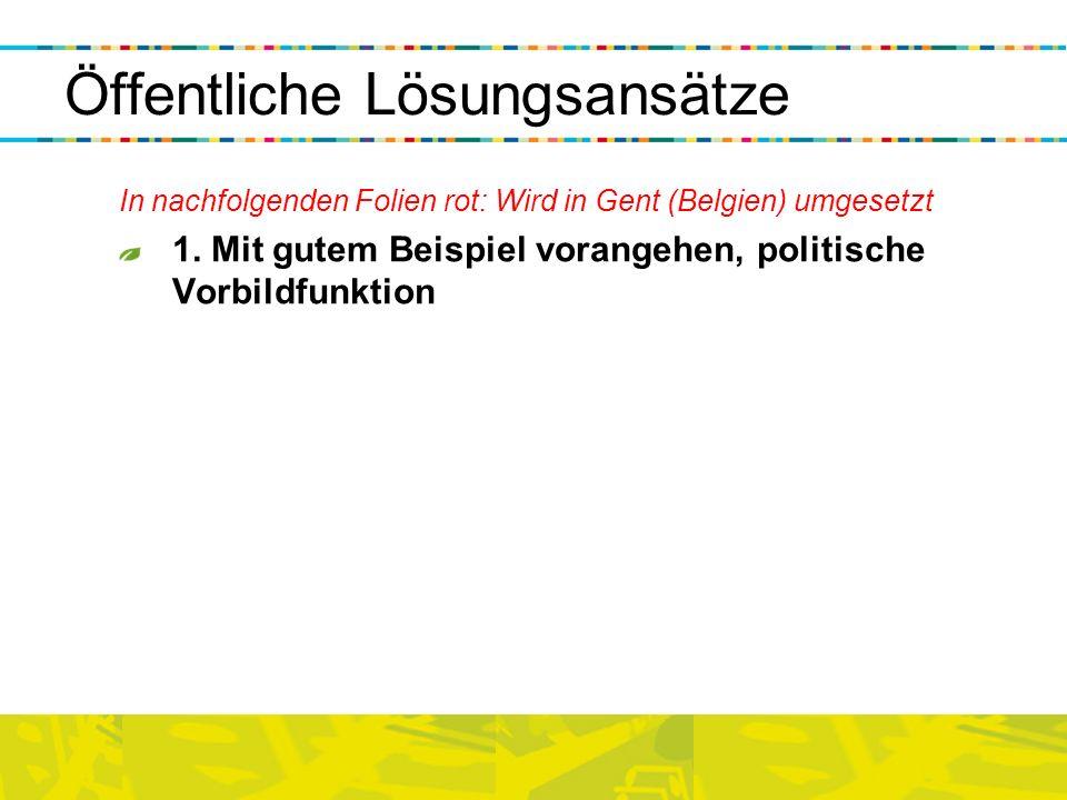 Öffentliche Lösungsansätze In nachfolgenden Folien rot: Wird in Gent (Belgien) umgesetzt 1. Mit gutem Beispiel vorangehen, politische Vorbildfunktion