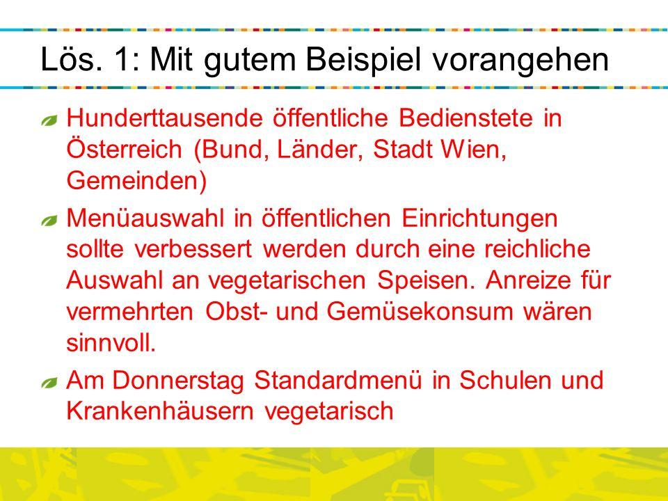 Lös. 1: Mit gutem Beispiel vorangehen Hunderttausende öffentliche Bedienstete in Österreich (Bund, Länder, Stadt Wien, Gemeinden) Menüauswahl in öffen