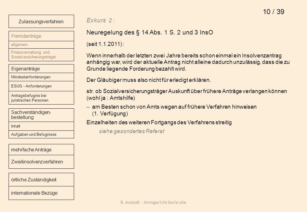 Exkurs 2 : Neuregelung des § 14 Abs. 1 S. 2 und 3 InsO (seit 1.1.2011) : Wenn innerhalb der letzten zwei Jahre bereits schon einmal ein Insolvenzantra