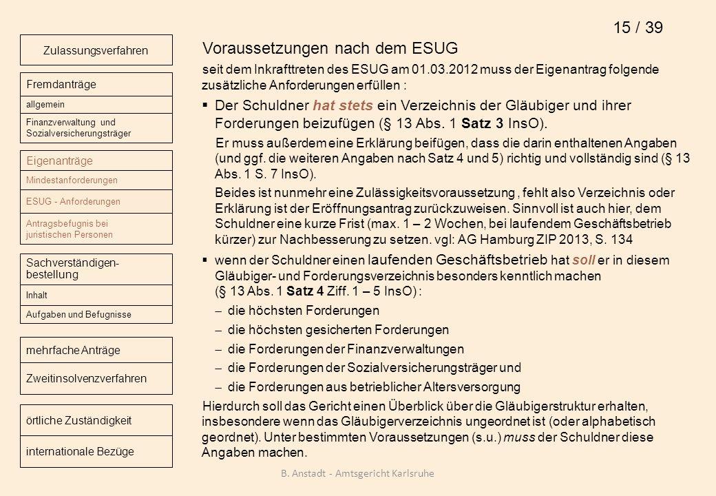 Voraussetzungen nach dem ESUG seit dem Inkrafttreten des ESUG am 01.03.2012 muss der Eigenantrag folgende zusätzliche Anforderungen erfüllen : Der Sch