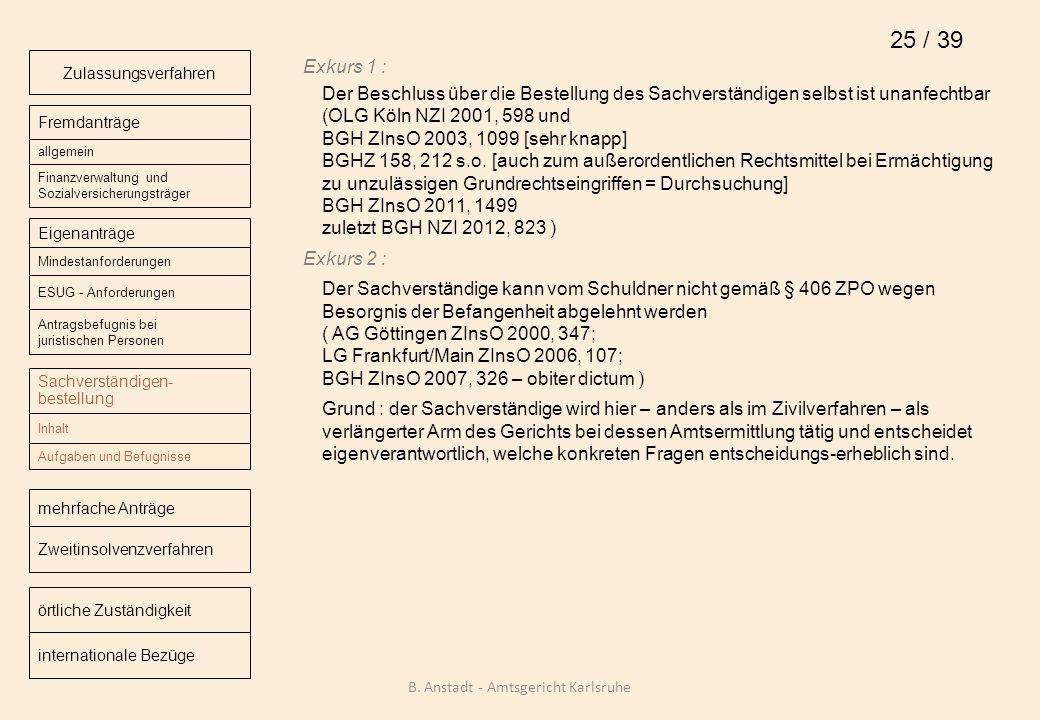 Exkurs 1 : Der Beschluss über die Bestellung des Sachverständigen selbst ist unanfechtbar (OLG Köln NZI 2001, 598 und BGH ZInsO 2003, 1099 [sehr knapp