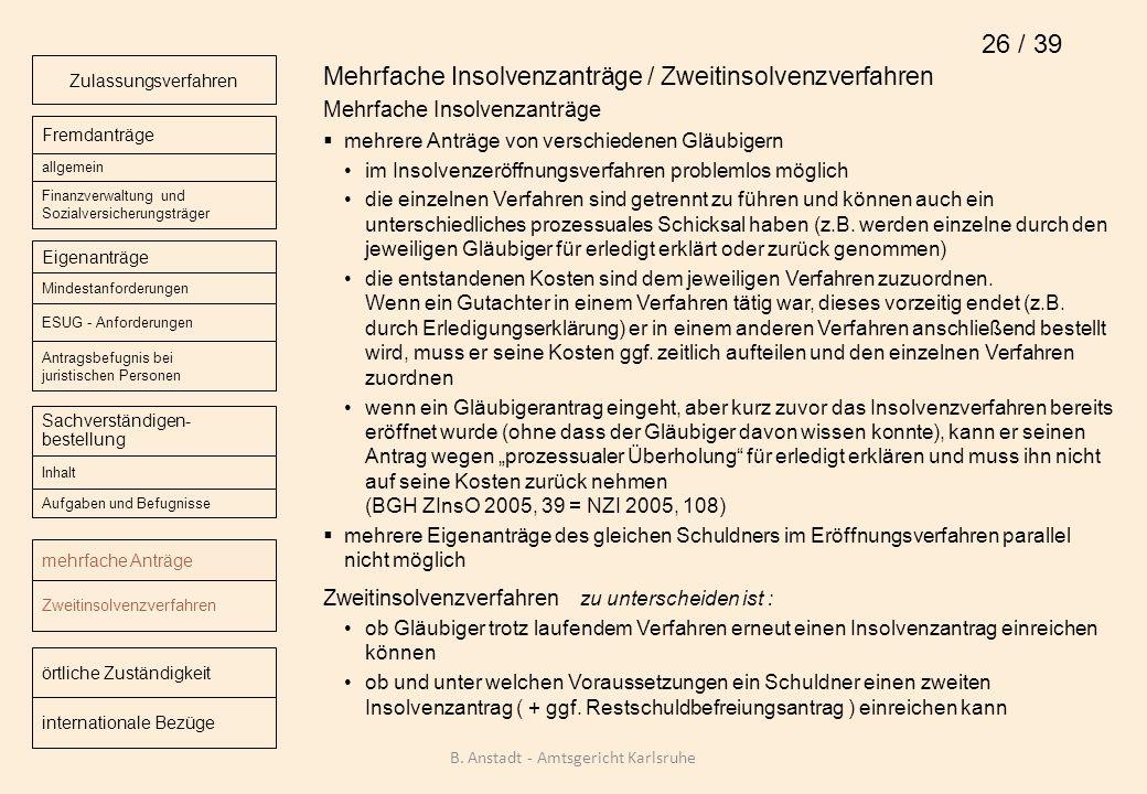 Mehrfache Insolvenzanträge / Zweitinsolvenzverfahren Mehrfache Insolvenzanträge mehrere Anträge von verschiedenen Gläubigern im Insolvenzeröffnungsver