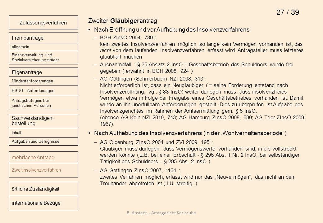 Zweiter Gläubigerantrag Nach Eröffnung und vor Aufhebung des Insolvenzverfahrens BGH ZInsO 2004, 739 : kein zweites Insolvenzverfahren möglich, so lan