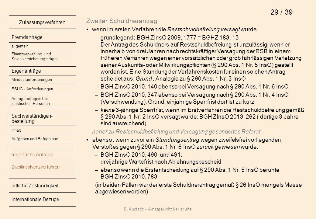 Zweiter Schuldnerantrag wenn im ersten Verfahren die Restschuldbefreiung versagt wurde grundlegend : BGH ZInsO 2009, 1777 = BGHZ 183, 13 Der Antrag de