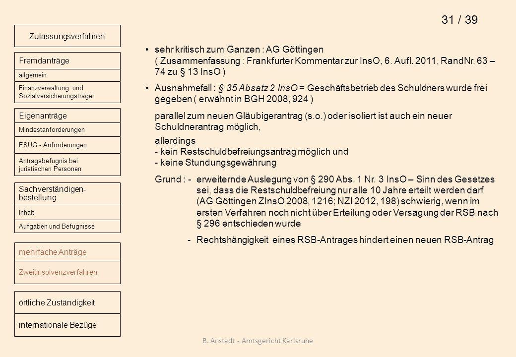sehr kritisch zum Ganzen : AG Göttingen ( Zusammenfassung : Frankfurter Kommentar zur InsO, 6. Aufl. 2011, RandNr. 63 – 74 zu § 13 InsO ) Ausnahmefall