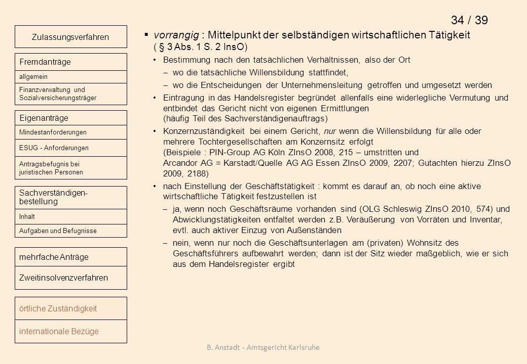 vorrangig : Mittelpunkt der selbständigen wirtschaftlichen Tätigkeit ( § 3 Abs. 1 S. 2 InsO) Bestimmung nach den tatsächlichen Verhältnissen, also der