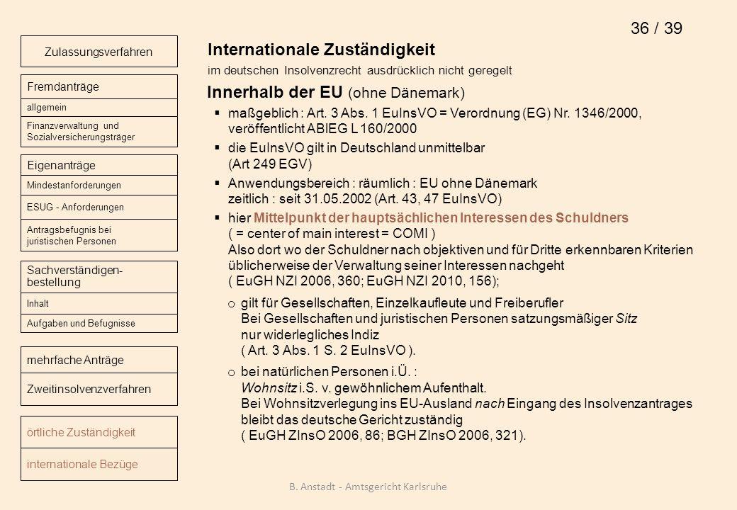 Internationale Zuständigkeit im deutschen Insolvenzrecht ausdrücklich nicht geregelt Innerhalb der EU (ohne Dänemark) maßgeblich : Art. 3 Abs. 1 EuIns