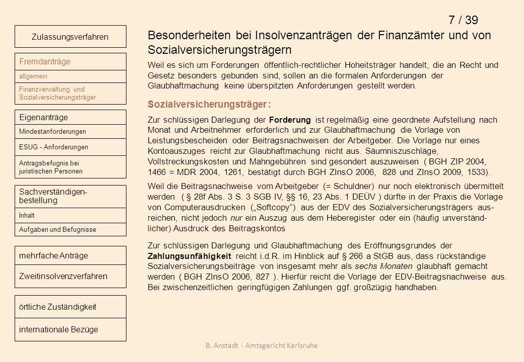 Besonderheiten bei Insolvenzanträgen der Finanzämter und von Sozialversicherungsträgern Weil es sich um Forderungen öffentlich-rechtlicher Hoheitsträg
