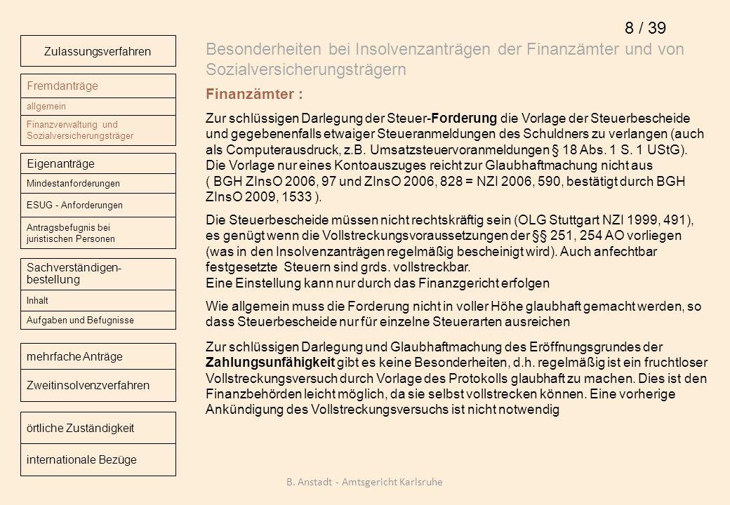 Besonderheiten bei Insolvenzanträgen der Finanzämter und von Sozialversicherungsträgern Finanzämter : Zur schlüssigen Darlegung der Steuer-Forderung d