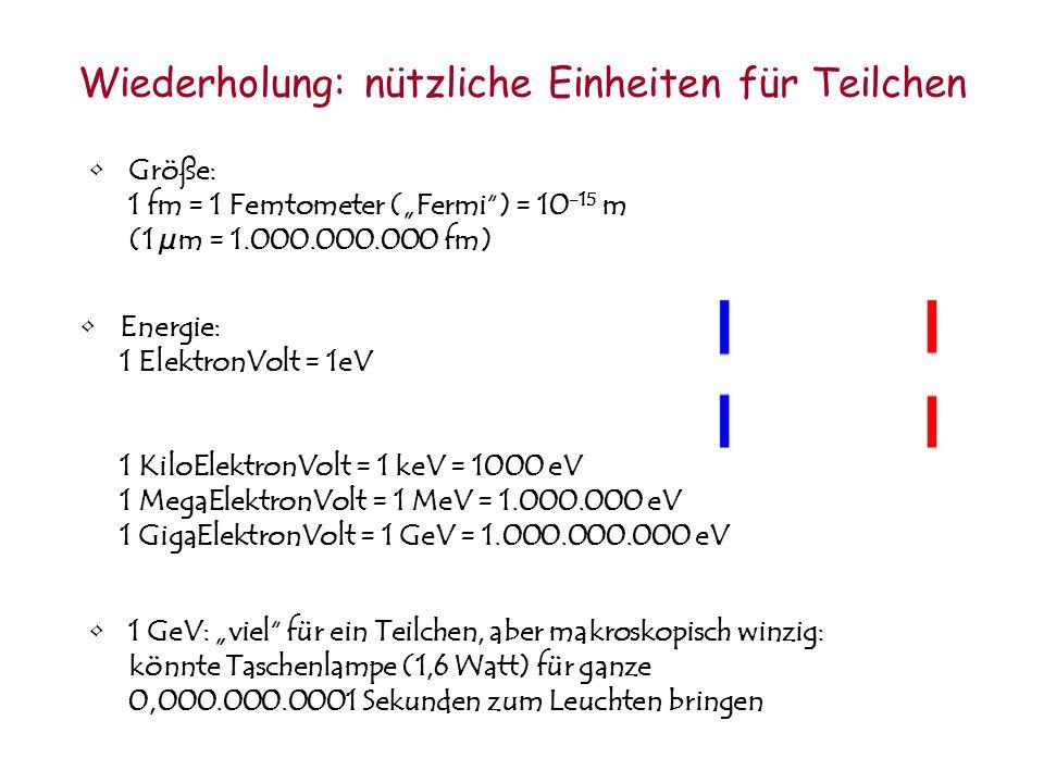 Wiederholung: nützliche Einheiten für Teilchen Größe: 1 fm = 1 Femtometer (Fermi) = 10 -15 m (1 µm = 1.000.000.000 fm) Energie: 1 ElektronVolt = 1eV 1