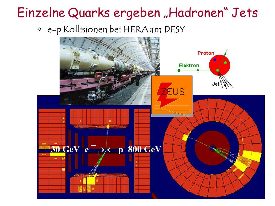 Einzelne Quarks ergeben Hadronen Jets e-p Kollisionen bei HERA am DESY 30 GeV e ¯ p 800 GeV