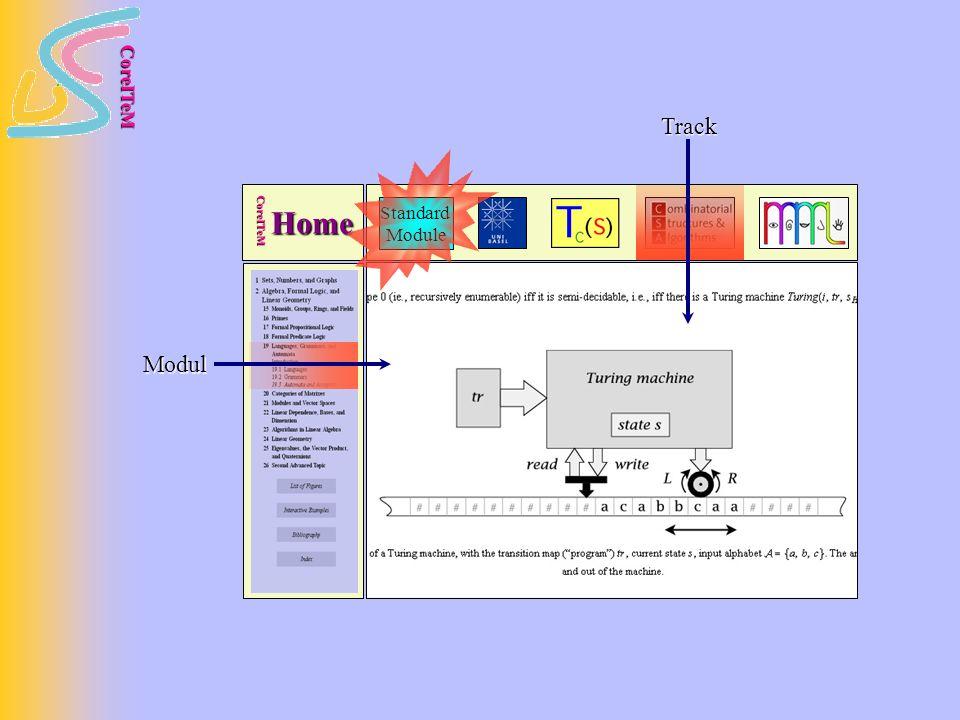 CoreITeM Standard Module Home CoreITeM Modul Track