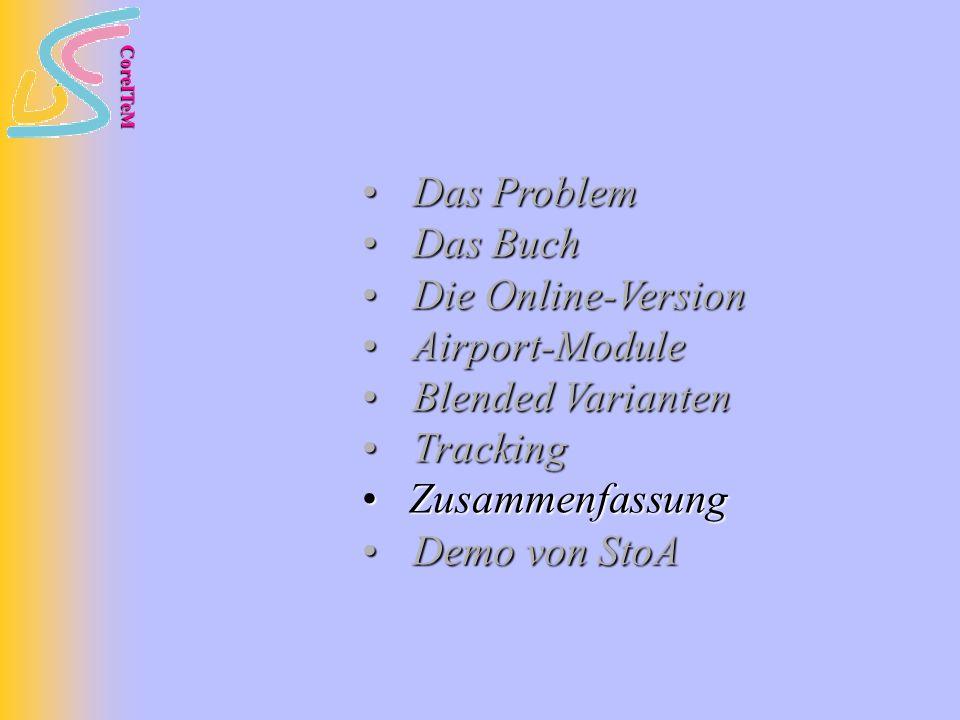 CoreITeM Das Problem Das Problem Das Buch Das Buch Die Online-Version Die Online-Version Airport-Module Airport-Module Blended Varianten Blended Varianten Tracking Tracking Zusammenfassung Zusammenfassung Demo von StoA Demo von StoA