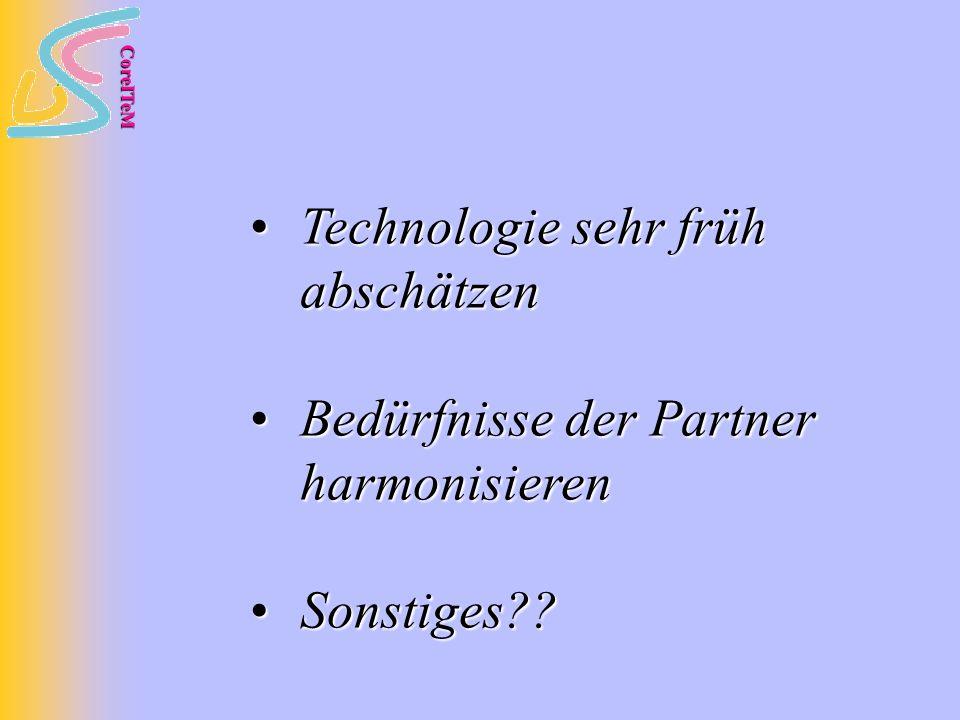 CoreITeM Technologie sehr früh abschätzen Technologie sehr früh abschätzen Bedürfnisse der Partner harmonisieren Bedürfnisse der Partner harmonisieren Sonstiges .