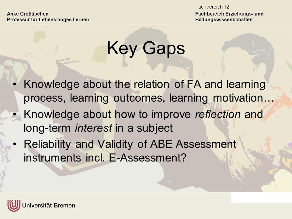 Anke Grotlüschen Professur für Lebenslanges Lernen Fachbereich Erziehungs- und Bildungswissenschaften Fachbereich 12 Key Gaps Knowledge about the rela