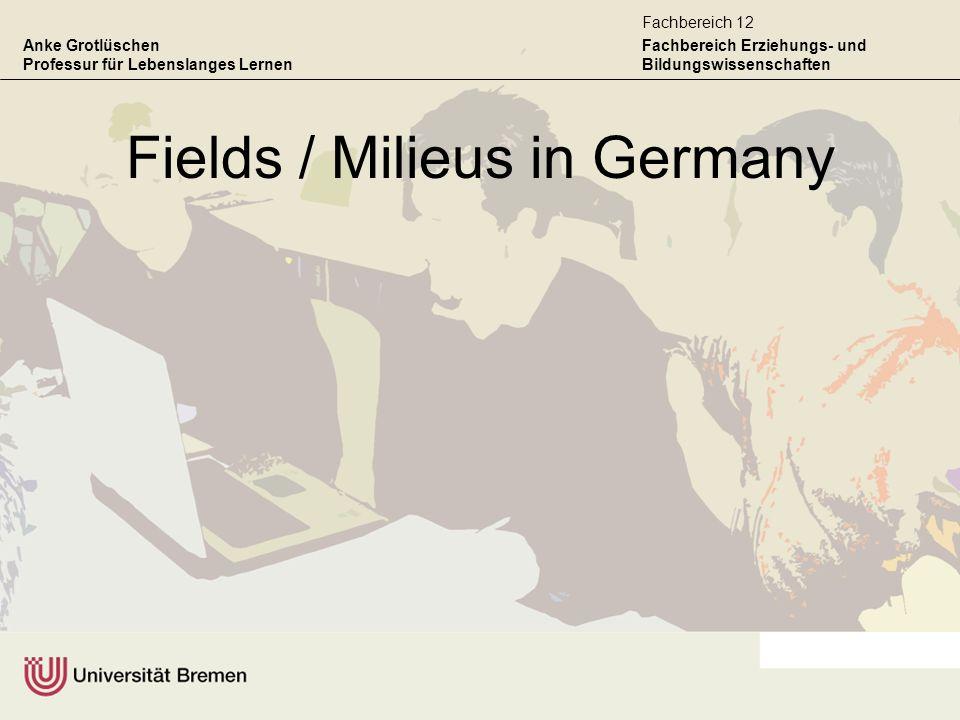 Anke Grotlüschen Professur für Lebenslanges Lernen Fachbereich Erziehungs- und Bildungswissenschaften Fachbereich 12 Fields / Milieus in Germany
