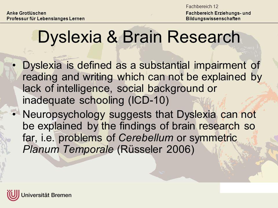 Anke Grotlüschen Professur für Lebenslanges Lernen Fachbereich Erziehungs- und Bildungswissenschaften Fachbereich 12 Dyslexia & Brain Research Dyslexi